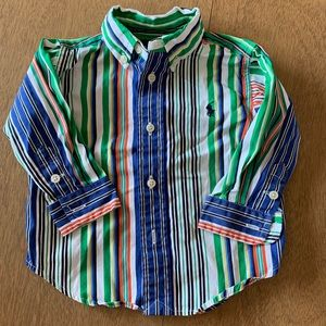 🏇🏼 2 for $20 Ralph Lauren Green Stripe Shirt 12m